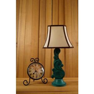 Tucasa Mango Wood Green Carving Table Lamp with 10 inch Polycotton Khadi Stripe Square Shade, WL-50