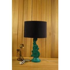 Tucasa Mango Wood Green Carved Table Lamp with 11.5 inch Polycotton Black Drum Shade, WL-309