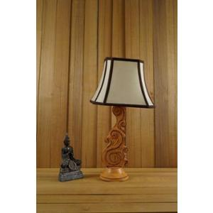 Tucasa Mango Wood Orange Carving Table Lamp with 10 inch Polycotton Stripe Square Shade, WL-101