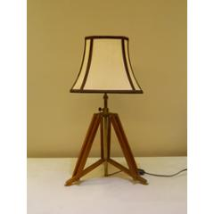 Tucasa Mango Wood Brown Tripod Table Lamp with Polycotton Off White Shade, P-18