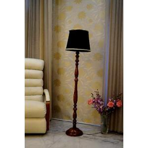 Tucasa Royal Brown Mango Wood Floor Lamp with Black Cylindrical Polycotton Shade, WF-101