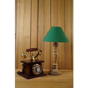 Tucasa Mango Wood Royal Brown Table Lamp with 10 inch Polycotton Green Pyramid Shade, WL-223