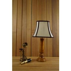 Tucasa Mango Wood Tan Table Lamp with 10 inch Polycotton Stripe Square Shade, WL-214
