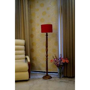 Tucasa Mango Wood Brown Floor Lamp with Red Drum Polycotton Shade, WF-2