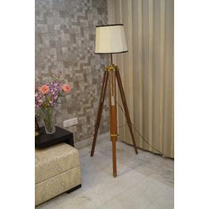 Tucasa Mango Wood Brown Tripod Floor Lamp with Polycotton Off White Shade, P-81