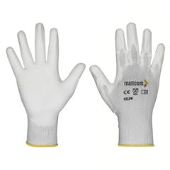 Mallcom 8 Inch White Polyurethane Coated Safety Gloves, P213W (Pack of 6)