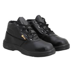 Indcare Aero Leather High Ankle Steel Toe Black Safety Shoes, Size: 5