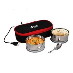 Orbit Softline 2 Containers Black Electric Lunch Box with Bag
