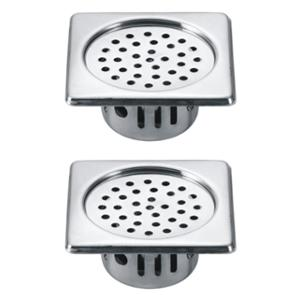 Drizzle 5x5 Inch Square Chrome Finished Stainless Steel Anti Cockroach Trap (Pack of 2)
