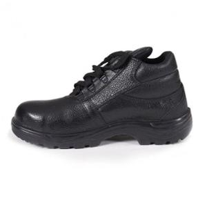Saviour FTSAV-SHA Leather Steel Toe Black Safety Shoes, Size: 6