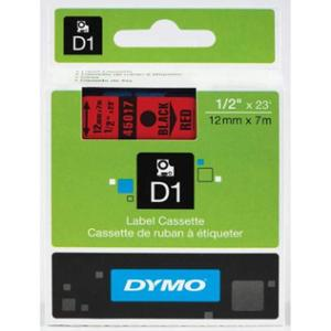 Dymo S0720570 12mmx7m Black Print on Red D1 Tape