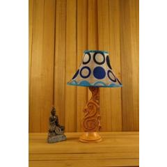 Tucasa Mango Wood Orange Carving Table Lamp with 12 inch Polysilk Blue Circle Conical Shade, WL-102