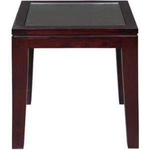 Evok Dark Brown Rio Solidwood End Table with Glass, IT00059553