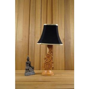 Tucasa Mango Wood Orange Carving Table Lamp with 10 inch Polycotton Black Square Shade, WL-100