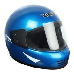 Virgo Airzed Full Face Blue Glossy Clear Helmet, Size (Medium, 58 cm)