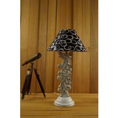 Tucasa Mango Wood Antique White Carving Table Lamp with 10 inch Polycotton Black Silver Pyramid Shade, WL-12
