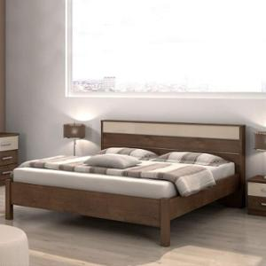 Evok Light Walnut Valeria Engineerwood Queen Bed without Storage, FBIBQBPBMTWN68167I