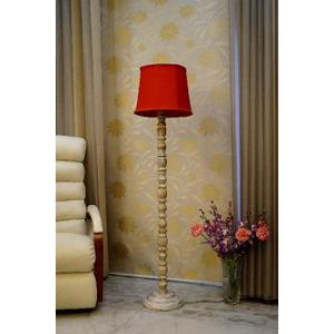 Tucasa Classic White Mango Wood Floor Lamp with Red Cylindrical Polycotton Shade, WF-81