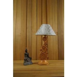 Tucasa Mango Wood Orange Carving Table Lamp with 10 inch Polycotton White Silver Pyramid Shade, WL-82