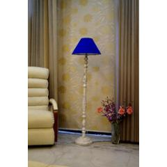 Tucasa Vintage White Mango Wood Floor Lamp with Blue Conical Polycotton Shade, WF-27