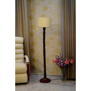 Tucasa Mango Wood Dark Brown Floor Lamp with Khadi Drum Polycotton Shade, WF-122