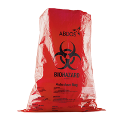 Abdos 200Pcs 12x18 Inch Biohazard Bright Red Disposable Bags, U40105