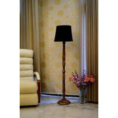 Tucasa Mango Wood Brown Floor Lamp with Black Cylindrical Polycotton Shade, WF-14