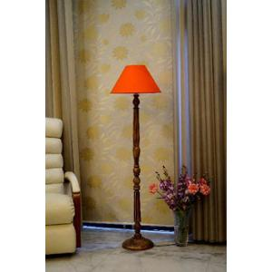 Tucasa Mango Wood Brown Floor Lamp with Orange Conical Polycotton Shade, WF-6