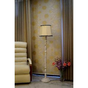 Tucasa Vintage White Mango Wood Floor Lamp with Khadi & Black Cylindrical Polycotton Shade, WF-22