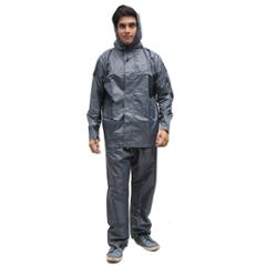 Duckback 666grey Rubberised Fabric Solid Men Raincoat