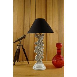 Tucasa Mango Wood Antique White Carving Table Lamp with 10 inch Polycotton Black Pyramid Shade, WL-9