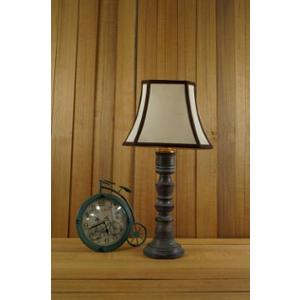 Tucasa Mango Wood Grey Table Lamp with 10 inch Polycotton Stripe Square Shade, WL-155
