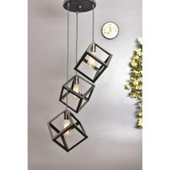 Tucasa Iron Three Square Pendent Light with Black Shade, HG-38