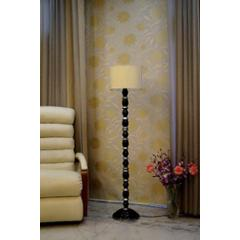 Tucasa Mango Wood Black & Silver Floor Lamp with Khadi Drum Polycotton Shade, WF-32