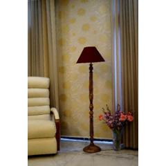 Tucasa Mango Wood Brown Floor Lamp with Maroon Conical Polycotton Shade, WF-10