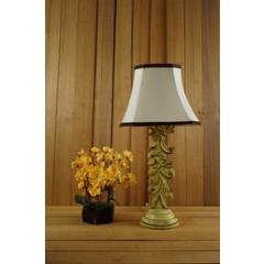 Tucasa Mango Wood Crushed Yellow Carving Table Lamp with 10 inch Polycotton Off White Square Shade, WL-76
