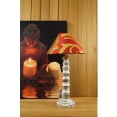 Tucasa Mango Wood Old White Table Lamp with 10 inch Polycotton Red Gold Pyramid Shade, WL-178