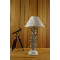 Tucasa Mango Wood Antique White Carving Table Lamp with 10 inch Polycotton White Silver Pyramid Shade, WL-17