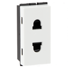 Havells 6A 2 Pin Polycarbonate White Shuttered Socket, AHFKSXW062