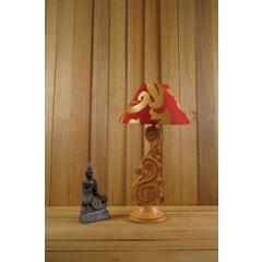 Tucasa Mango Wood Orange Carving Table Lamp with 10 inch Polycotton Red Gold Pyramid Shade, WL-83