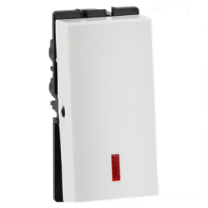 Havells 10A X Polycarbonate White 1 Way Switch with Indicator, AHFSXIW101