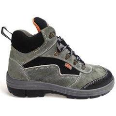 Double Duty DD-7086 Leather High Ankle Steel Toe Grey Safety Shoes, Size: 6