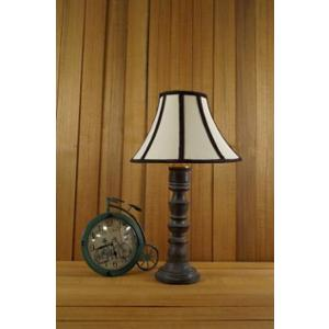 Tucasa Mango Wood Grey Table Lamp with 12 inch Polycotton Stripe Conical Shade, WL-157