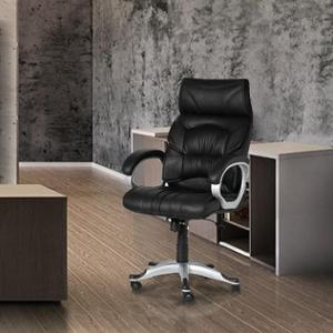 Mezonite High Back Black Office Chair Made Of Leatherette