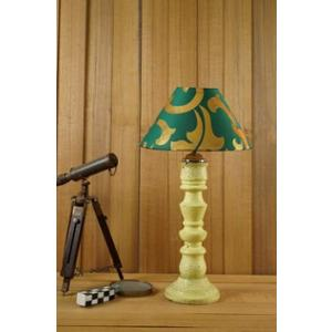 Tucasa Mango Wood Vintage Yellow Table Lamp with 10 inch Polycotton Green Gold Pyramid Shade, WL-258