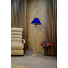 Tucasa White Mango Wood Floor Lamp with Blue Conical Polycotton Shade, WF-147